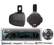 "8"" Marine Wakeboard Black Speakers, Kenwood USB Bluetooth AUX Radio/Wired Remote"