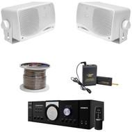 """Pyle Mono PT110 Amplifier, Lavalier Mic Set,Speaker Wire, 3.5"""" 200W Box Speakers"""