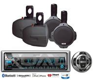 "4 Marine 8""Wakeboard Speakers,Kenwood Marine USB Bluetooth CD Radio/Wired Remote"