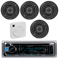 """Package Bundle Kit Includes: 1 Kenwood KMR-D368BT Bluetooth Stereo USB/AUX CD Player Receiver Unit + 4x (2 Pairs) of Enrock EKMR1672B 6-1/2"""" Inch Black Marine Speakers + 1 Dual XGPS10M Boat Bluetooth Wireless GPS Receiver"""