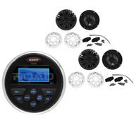 "4"" Charcoal/White Marine Kicker Speakers, Jensen AUX USB AM FM Marine Receiver"