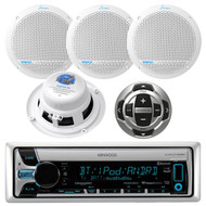 Kenwood KMR-D765BT CD MP3 USB AUX Bluetooth Receiver, AQ5DCW Lanzar 300 Watts 5.25'' White Dual Cone Marine Speakers, Kenwood KCA-RC35MR Wired Remote Control