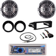 "Dual CD Bluetooth Stereo, Harley FLHT Install Adapter Kit, 6.5"" Polk Speaker Set"