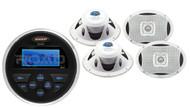 """6x9"""" Marine 2-Way Speaker Set, Jensen MS30 Round USB AUX AM FM Marine Receiver"""