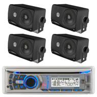 Dual AMB600W Bluetooth CD Receiver with Weatherband Tuner, Pyle PLMR24B 3.5'' 200 Watt 3-Way Weather Proof Mini Box Speaker System (Black)