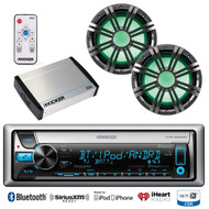 "10""Marine LED Subwoofers/Remote, Marine Bluetooth CD USB Radio, 400W Amplifier"