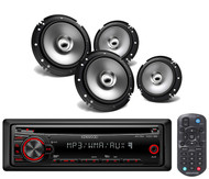 Kenwood 6.5'' 2Way Flush Mount Coaxial Speakers, Kenwood AM FM AUX CD Car Radio