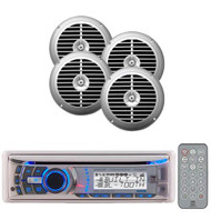 2 Silver Enrock Speakers With Dual Marine Boat AM/FM MP3 CD USB Stereo System