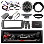 """Harley JVC CD Install Adapter Kit, Kicker 6.5"""" Speaker Set, Amplifier and Kit"""
