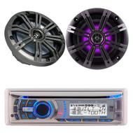 """Dual CD USB iPod Bluetooth Marine Radio & 2 Kicker 6.5"""" Multi Color LED Speakers"""