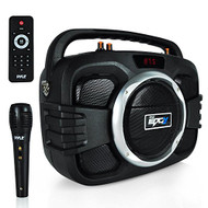 Pyle Bluetooth PA System Karaoke BoomBox Speaker High Power Ligh Weight , Built-in Rechargeable Battery, Wireless Microphone, Recording Ability, MP3/USB/SD/FM Black (PWMA245BT)