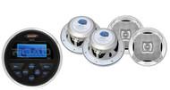 """4 Silver Marine 6.5"""" 2Way Speakers, MS30 Marine USB AUX AM FM Round Receiver"""
