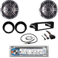 "CD Dual Stereo, Antenna, FLHTC 98-2013 Harley DIN Kit, 6.5"" Speakers, Adapters"