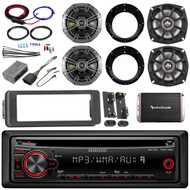Kenwood CD AUX Harley FLHT Install Adapter Kit, Kicker Speaker Set, Amp and Kit