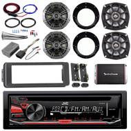 """Harley CD AUX FLHTX Adapter Kit,Amplifier Set, Kicker 5.25"""" and 6.5"""" Speaker Set"""
