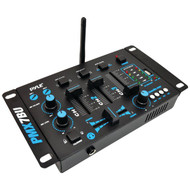 New Pyle PMX7BU Bluetooth 3-Channel DJ MP3 Mixer, Mic-Talkover, USB Flash Reader, Dual RCA & Microphone Inputs, Headphone Jack