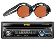 "2 Orange Wireless Headphones, Pyle 7"" In Dash Bluetooth CD USB AM FM Receiver"