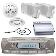 JBL MR18.5 Marine Boat Radio iPod iPhone Receiver 4 Speakers 400W Amplifier