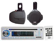"8"" Black 300W 2Way Marine Wake Board Speakers,Pyle USB CD Mp3 AUX AM FM Receiver"