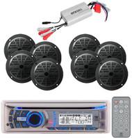 240 Watt Dual Marine boat CD MP3 AUX AM/FM Radio Player & 800w Amp /8 Speakers