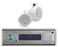 "Lanzar Marine AUX Bluetooth Radio, 2 Marine White 6.5"" 200W Wake Board Speakers"