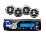 "JVC KD-X31MBS Marine Boat/Car USB AUX Bluetooth Receiver, 4 Silver 6.5"" Speakers"