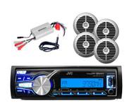 JVC Boat Bluetooth USB AUX MP3 Radio Player w/4 Silver Speakers,800W Amp,Antenna