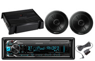 "2 Black 6.5""Pioneer Speakers,400W Amplifier,Kenwood Bluetooth iPod USB AUX Radio"