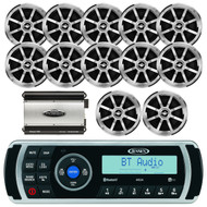 "Jensen MS2ARTL AM/FM Radio USB iPod Bluetooth Waterproof Stereo Receiver Player With App Control,  JENSEN 6.5"" Inch Coaxial Stereo Silver Speakers, Jensen POWER760 Power760 4-Channel 760 Watt Black Amplifier, EKMR1 Enrock Marine Wire Antenna (Black)"