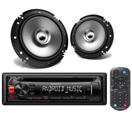 2 Kenwood 6.5'' 2 Way Flush Mount Speakers, Kenwood CD USB AUX AM FM Car Radio
