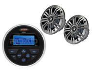 "2 White/Charcoal Kicker 6.5"" Speakers, Jensen AM FM USB AUX Marine Round Radio"