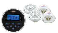 """MS30 Marine Boat USB AM FM Round Receiver, 4 Marine 7.7"""" 280W 2Way Speaker Set"""