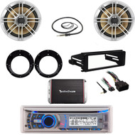 CD Dual Marine Stereo, Harley 98-2013 Dash FLHT Kit, 300W Amp, Speakers/Adapters