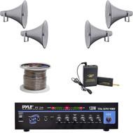 """16"""" PA Horn Speakers,Speaker Wire, Lavalier Mic System, PT210 Mono Mic Amplifier"""