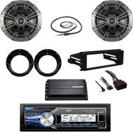 "USB JVC Stereo, 98-2013 FLHX Dash Kit, Amp,Kicker 6.75""Speakers, Adapters,Antenna"