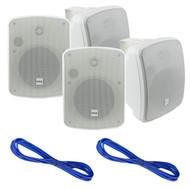 New Pyle PDWR54BTW Waterproof and Bluetooth 5.25'' Indoor/Outdoor Speaker System, 600 Watt, Black, Pair, 16 Gauge 50 Foot Marine Speaker Wire