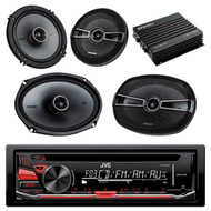 "This Bundle Combo Kit Includes JVC KD-R370 CD/MP3 Radio Bluetooth Stereo Receiver + 2 X Kicker 41KSC654 6.5 Inch Marine Boat Stereo Speakers + 2 X 6 x 9"" 41KSC694 Boat Speaker + Enrock EKMB500ABT Bluetooth aterproof Amplifier"