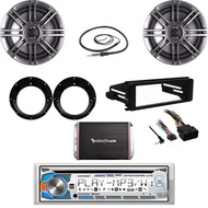 "Dual CD Stereo-Harley FLHTC Dash Kit, 300W Amp, 6.5"" Speaker Polk Set, Antenna"