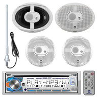 """Package Bundle Kit Includes: 1 Dual AM400W Mechless AM/FM/CD/MP3/WMA Stereo Receiver Player + 4 x (2 Pair) Dual DMS365 6-1/2"""" Inch Cone 120 Watt Boat Coaxial Speakers"""