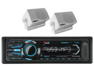 "2 White 3.5"" Box Marine Speakers & Boss AM FM iPod Bluetooth SD USB Receiver"