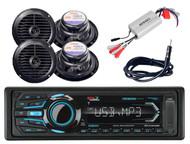 "Boss Bluetooth USB iPod Radio, 2 120W 6.5"" Black Speakers,Antenna,800W Amplifier"