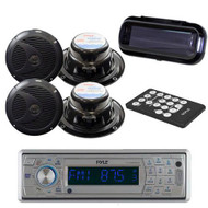 New Marine Boat AM/FM CD/MP3/SD/USB Player Wireless Bluetooth /Cover 4 Speakers