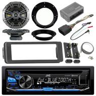JVC Bluetooth CD Radio, Kicker Speaker Set, Harley 98-2013 FLHTC FLHX Dash Kit