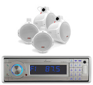 "Lanzar Bluetooth USB AM FM AUX Marine Radio,4 White 8""Marine Wake Board Speakers"