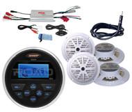 """6 White Marine 5.25""""Speakers,Antenna,Amplifier,Jensen Marine USB AUX AM FM Radio"""