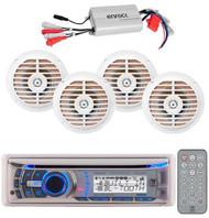 AMB600W Marine CD MP3 AM/FM USB Radio Receiver +800Watt Amp W/4 Enrock Speakers
