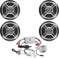"4 Enrock Chrome 6.5"" 100W Marine Speakers, 1200W 4-Channel Marine Boat Amplifier"