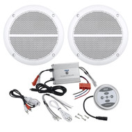 "Pyle Bluetooth Marine 600W 2Channel Amplifier, 6.5"" 250W Enrock Marine Speakers"