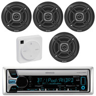 """Package Bundle Kit Includes: 1 Kenwood KMR-D765BT Bluetooth Stereo USB/AUX CD Player Receiver Unit + 4x (2 Pairs) of Enrock EKMR1672B 6-1/2"""" Inch Black Marine Speakers + 1 Dual XGPS10M Boat Bluetooth Wireless GPS Receiver"""