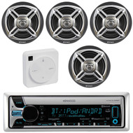 """Package Bundle Kit Includes: 1 Kenwood KMR-D765BT Bluetooth Stereo USB/AUX CD Player Receiver Unit + 4x (2 Pairs) of Enrock EKMR1672B 6-1/2"""" Inch Charcoal/Silver Marine Speakers + 1 Dual XGPS10M Boat Bluetooth Wireless GPS Receiver"""